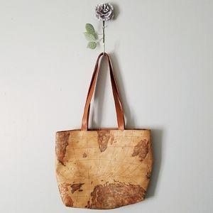 🍃 World Map Tote Shoulder Purse Bag